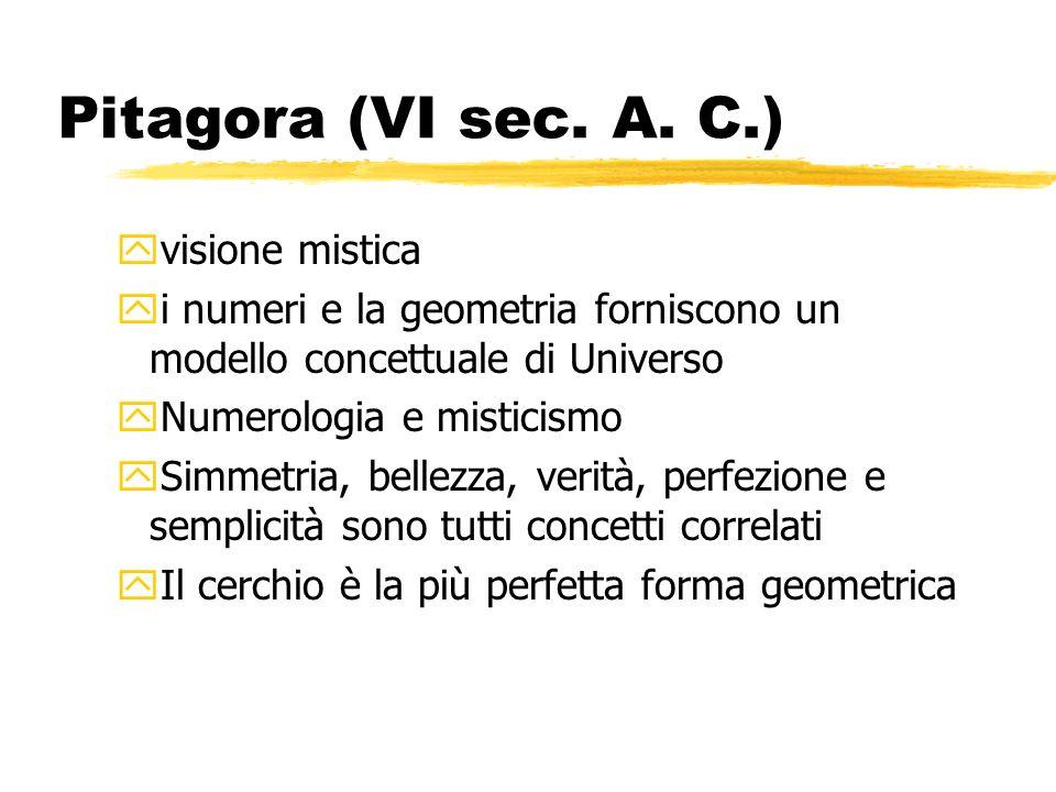 Pitagora (VI sec. A. C.) yvisione mistica yi numeri e la geometria forniscono un modello concettuale di Universo yNumerologia e misticismo ySimmetria,