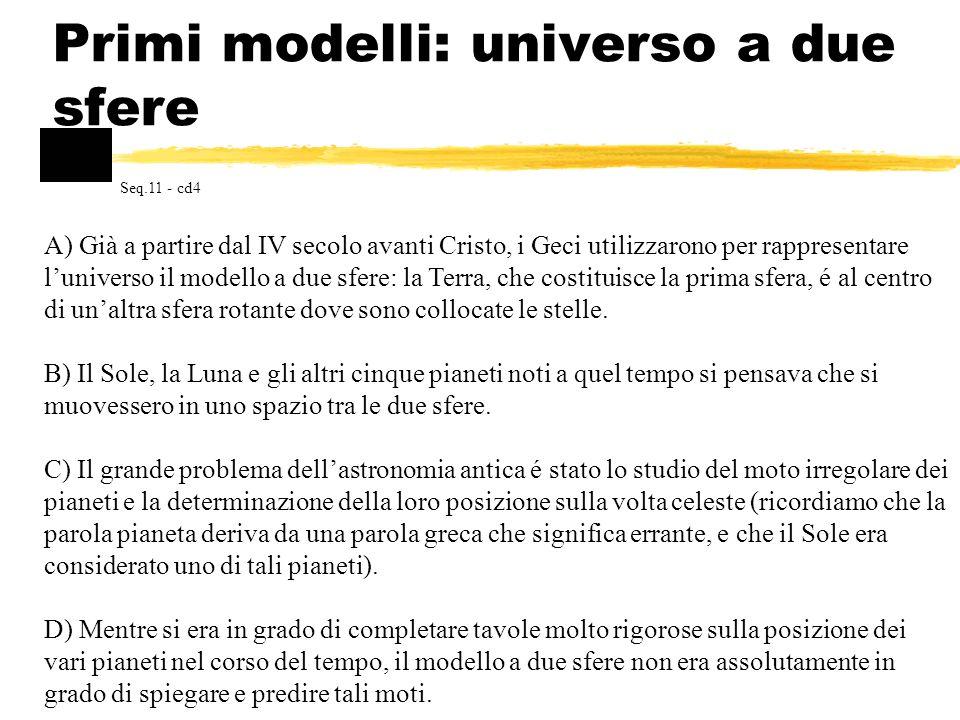 Primi modelli: universo a due sfere A) Già a partire dal IV secolo avanti Cristo, i Geci utilizzarono per rappresentare luniverso il modello a due sfe