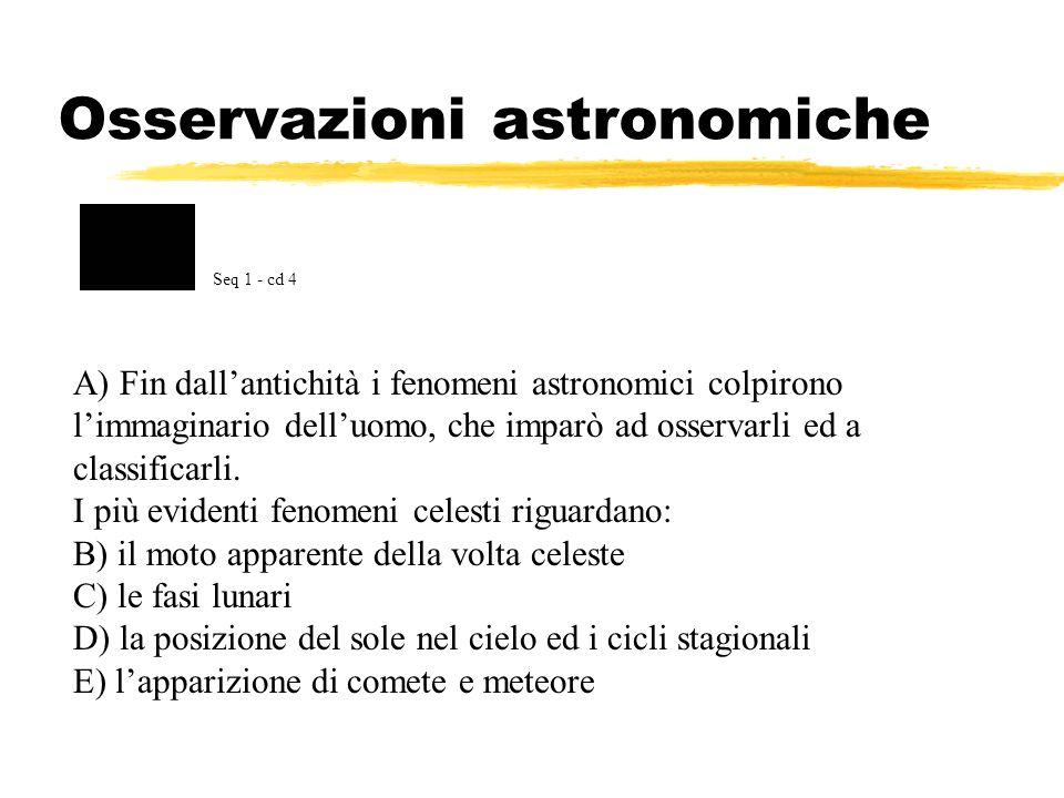 Osservazioni astronomiche A) Fin dallantichità i fenomeni astronomici colpirono limmaginario delluomo, che imparò ad osservarli ed a classificarli. I