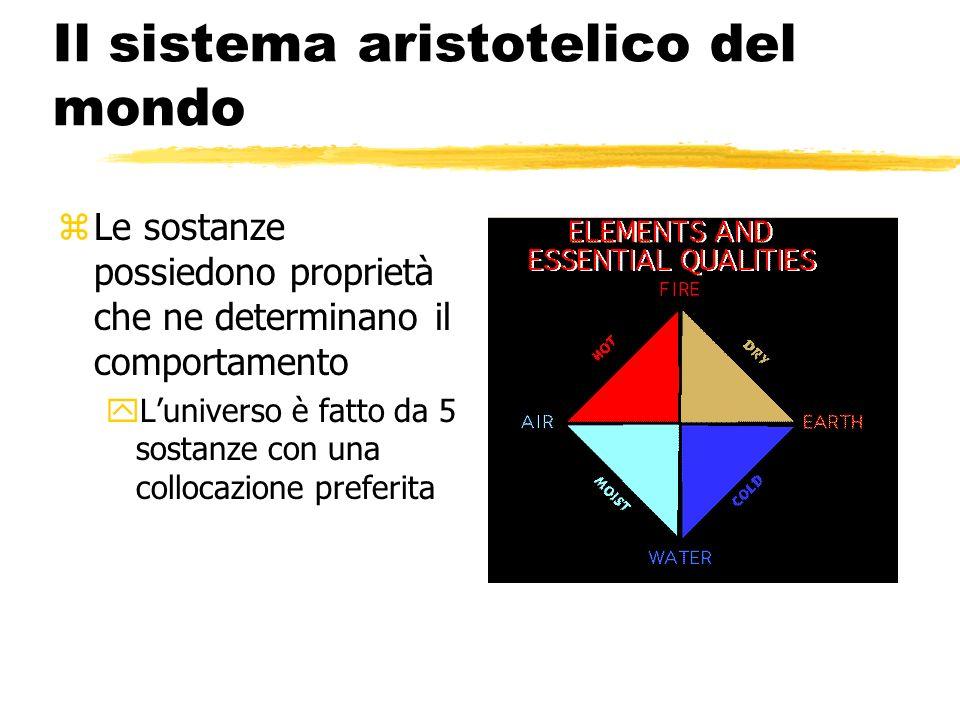 Il sistema aristotelico del mondo zLe sostanze possiedono proprietà che ne determinano il comportamento yLuniverso è fatto da 5 sostanze con una collo