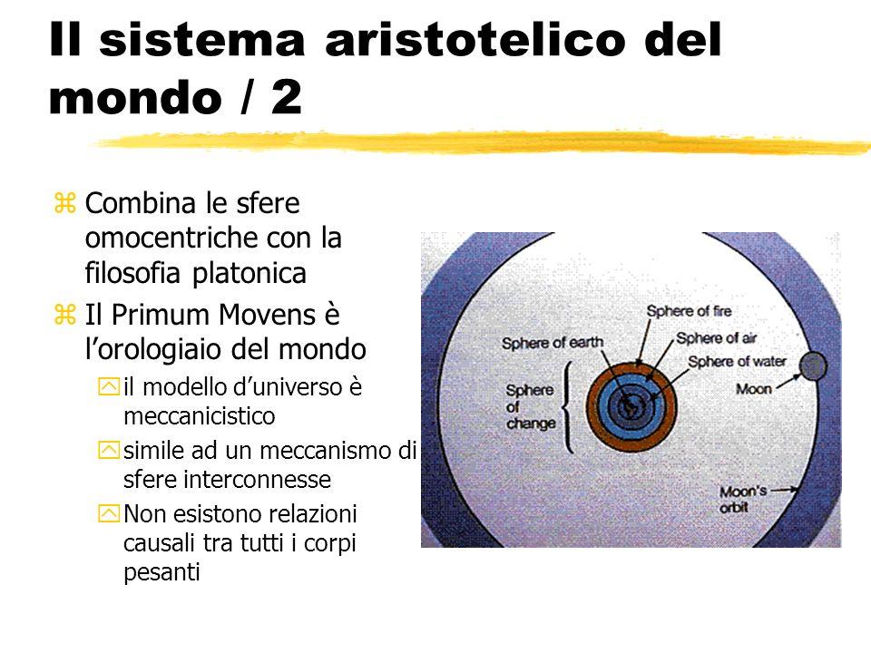 Il sistema aristotelico del mondo / 2 zCombina le sfere omocentriche con la filosofia platonica zIl Primum Movens è lorologiaio del mondo yil modello