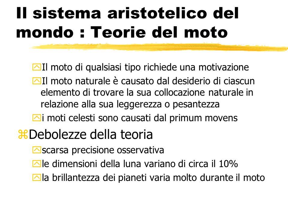 Il sistema aristotelico del mondo : Teorie del moto yIl moto di qualsiasi tipo richiede una motivazione yIl moto naturale è causato dal desiderio di c