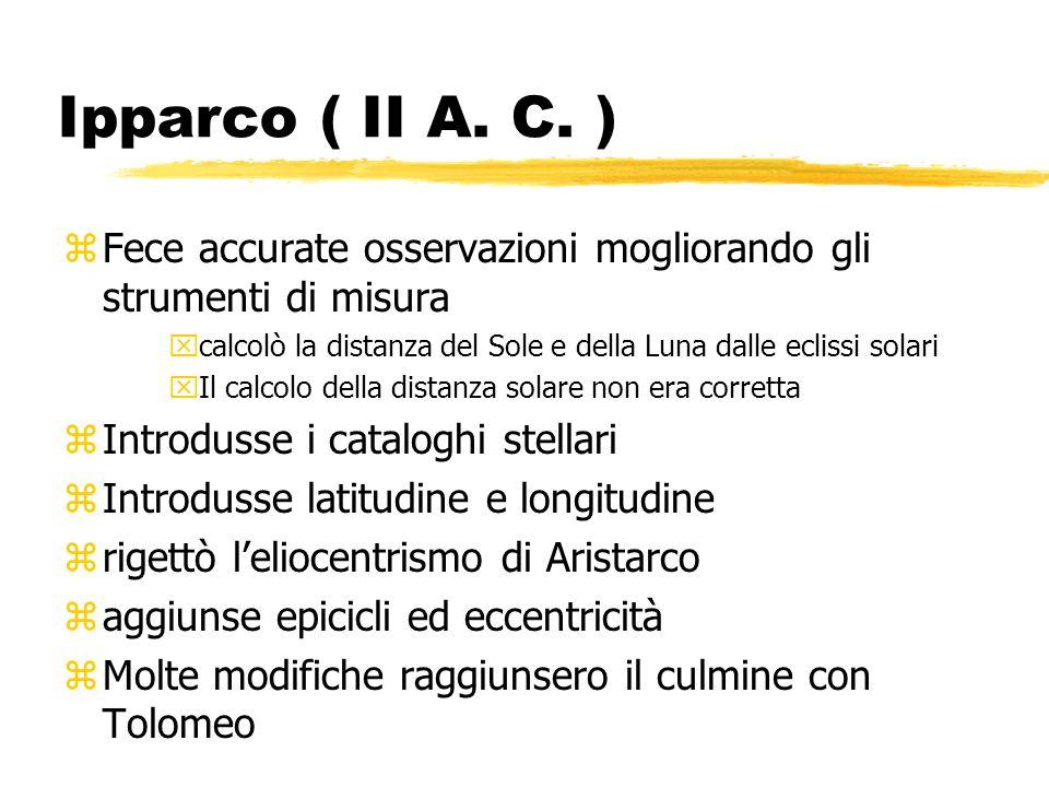 Ipparco ( II A. C. ) zFece accurate osservazioni mogliorando gli strumenti di misura xcalcolò la distanza del Sole e della Luna dalle eclissi solari x