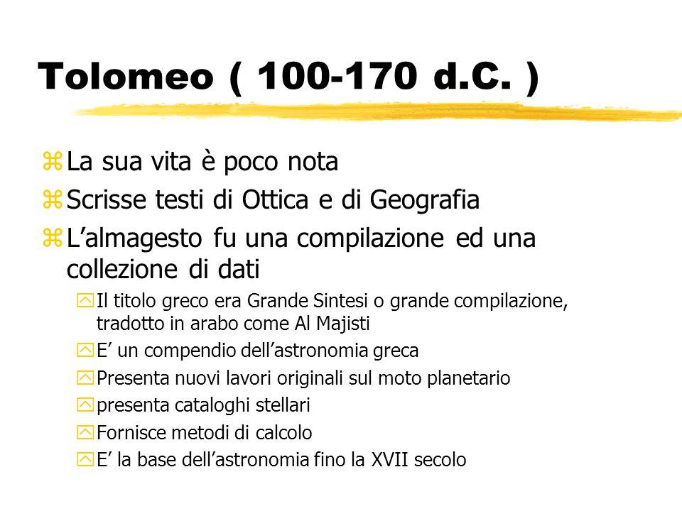 Tolomeo ( 100-170 d.C. ) zLa sua vita è poco nota zScrisse testi di Ottica e di Geografia zLalmagesto fu una compilazione ed una collezione di dati yI