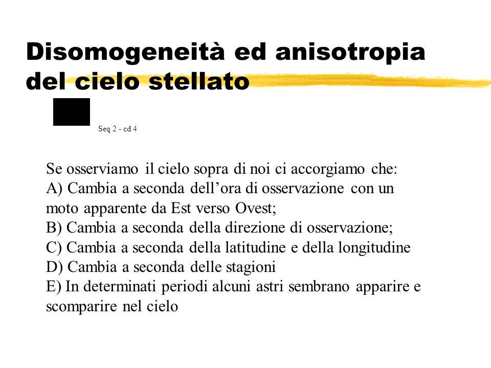 Disomogeneità ed anisotropia del cielo stellato Se osserviamo il cielo sopra di noi ci accorgiamo che: A) Cambia a seconda dellora di osservazione con