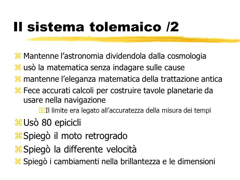 Il sistema tolemaico /2 zMantenne lastronomia dividendola dalla cosmologia zusò la matematica senza indagare sulle cause zmantenne leleganza matematic