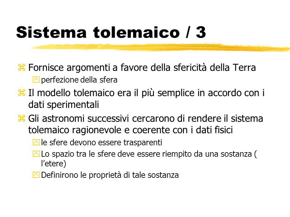 Sistema tolemaico / 3 zFornisce argomenti a favore della sfericità della Terra yperfezione della sfera zIl modello tolemaico era il più semplice in ac