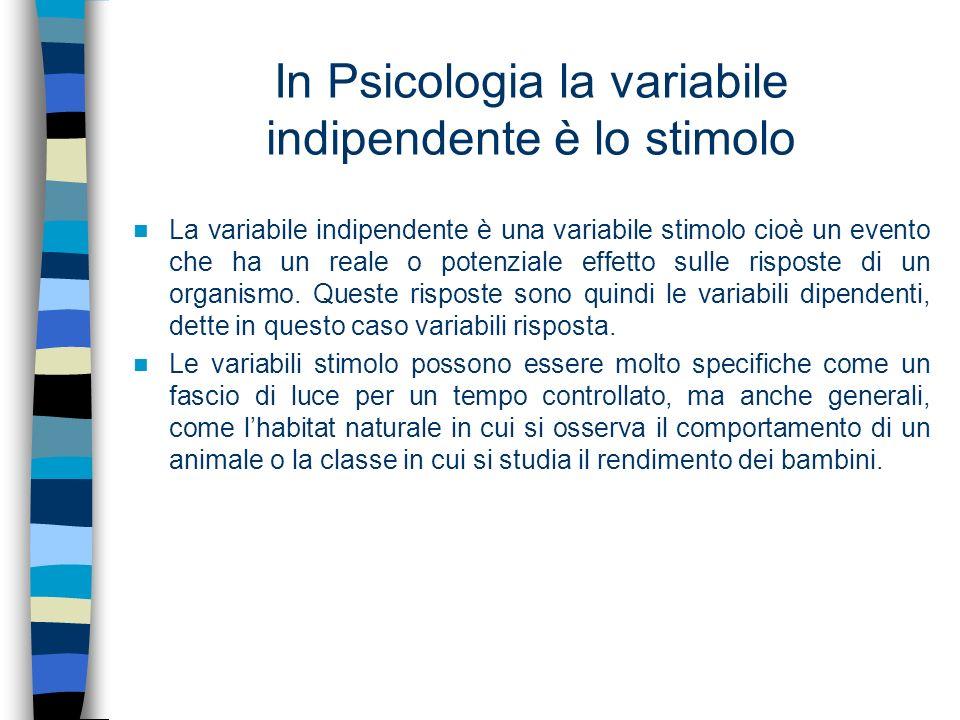 In Psicologia la variabile indipendente è lo stimolo La variabile indipendente è una variabile stimolo cioè un evento che ha un reale o potenziale eff