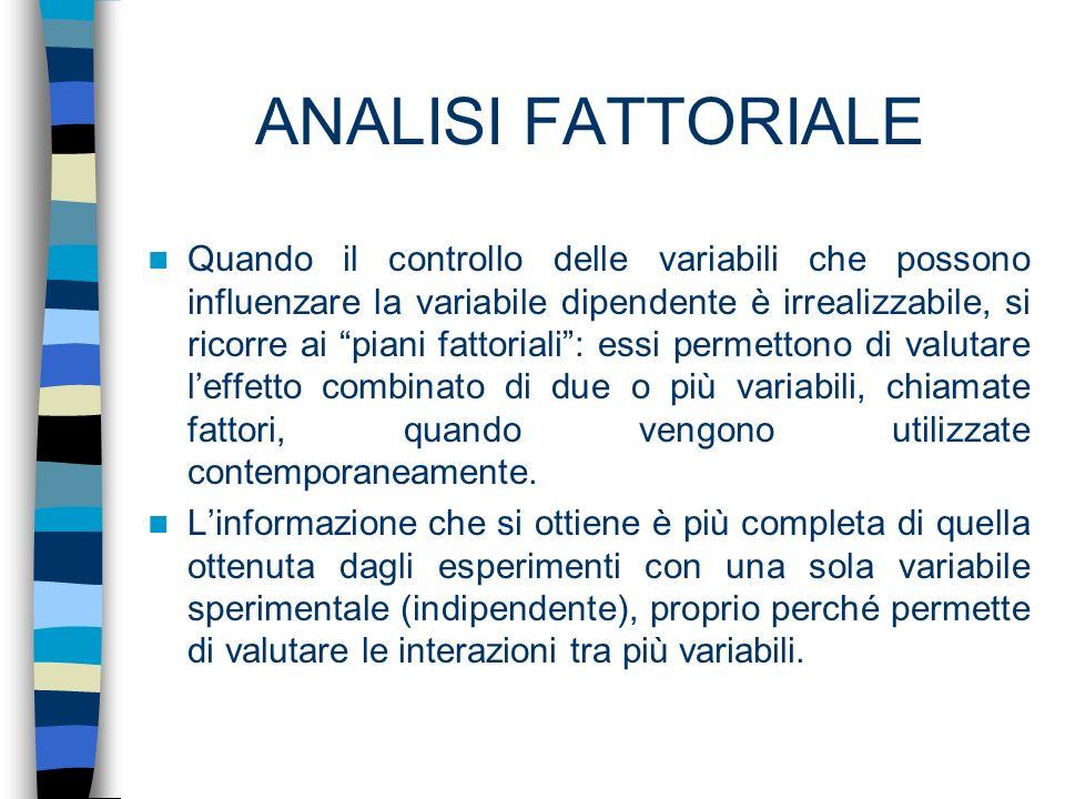 ANALISI FATTORIALE Quando il controllo delle variabili che possono influenzare la variabile dipendente è irrealizzabile, si ricorre ai piani fattorial