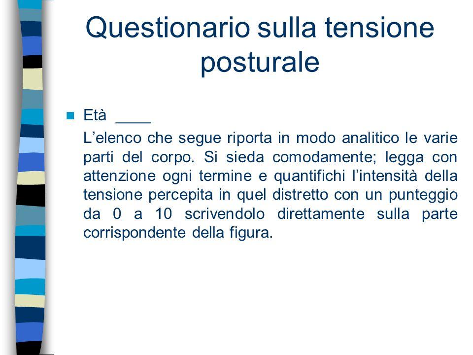 Questionario sulla tensione posturale Età ____ Lelenco che segue riporta in modo analitico le varie parti del corpo. Si sieda comodamente; legga con a