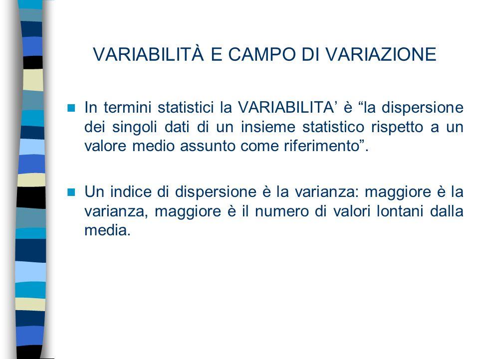 VARIABILITÀ E CAMPO DI VARIAZIONE In termini statistici la VARIABILITA è la dispersione dei singoli dati di un insieme statistico rispetto a un valore