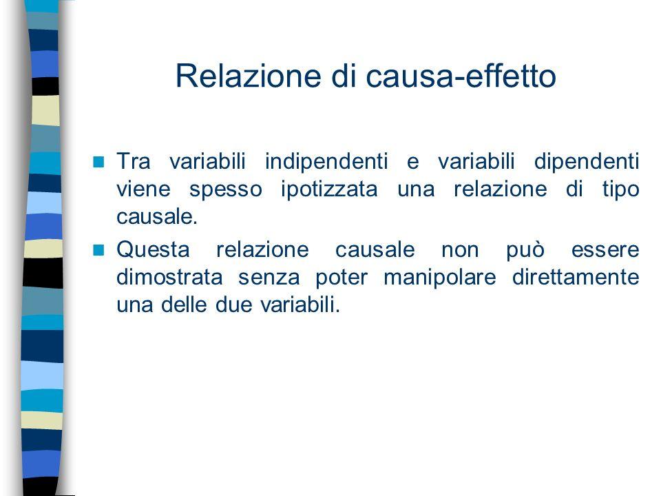 Relazione di causa-effetto Tra variabili indipendenti e variabili dipendenti viene spesso ipotizzata una relazione di tipo causale. Questa relazione c