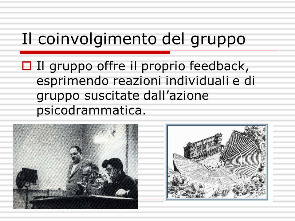 Il coinvolgimento del gruppo Il gruppo offre il proprio feedback, esprimendo reazioni individuali e di gruppo suscitate dallazione psicodrammatica.
