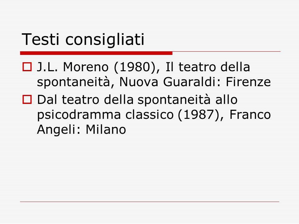 Testi consigliati J.L. Moreno (1980), Il teatro della spontaneità, Nuova Guaraldi: Firenze Dal teatro della spontaneità allo psicodramma classico (198