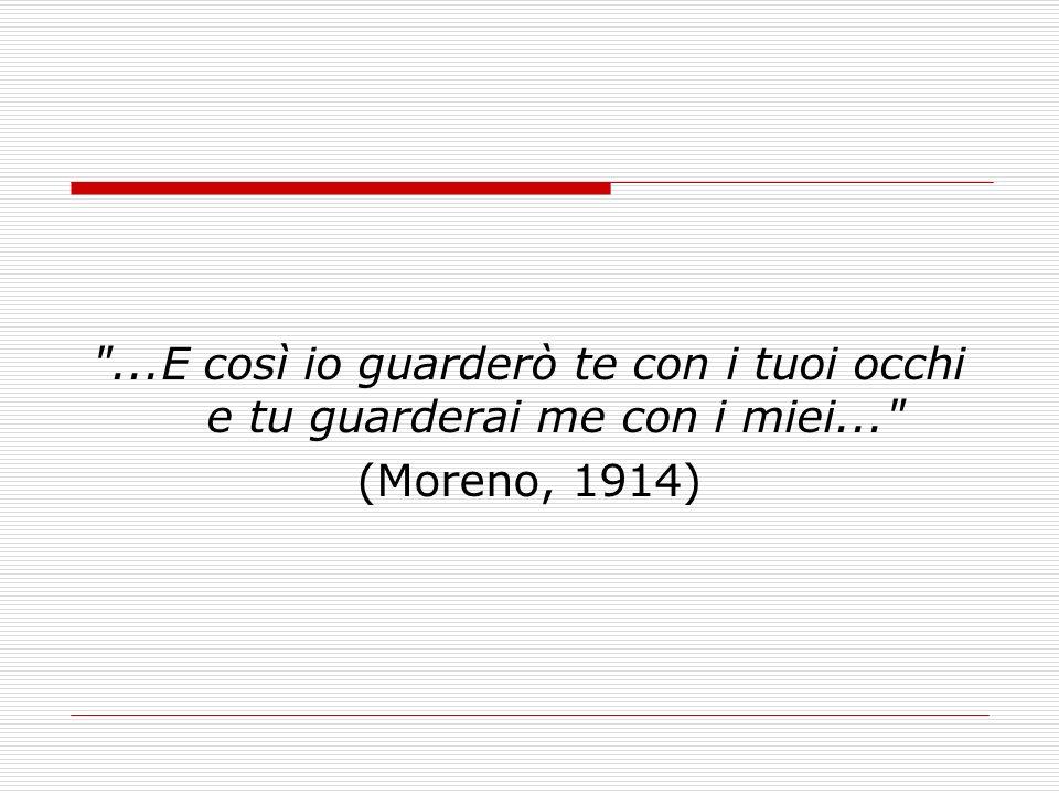 ...E così io guarderò te con i tuoi occhi e tu guarderai me con i miei... (Moreno, 1914)
