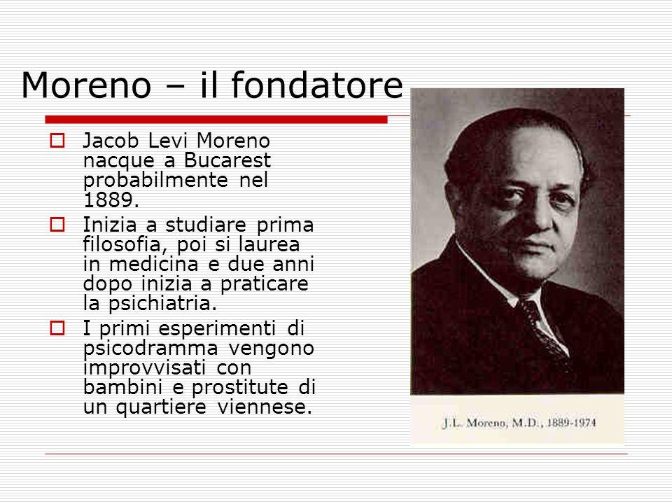 Moreno – il fondatore Jacob Levi Moreno nacque a Bucarest probabilmente nel 1889. Inizia a studiare prima filosofia, poi si laurea in medicina e due a