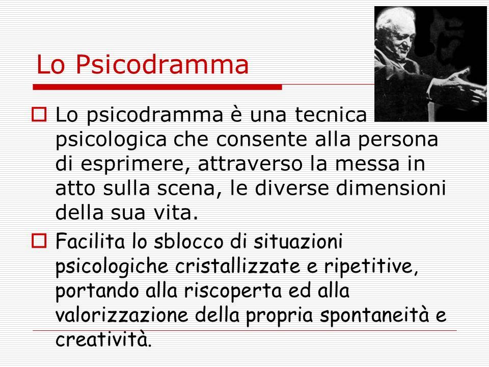 Lo Psicodramma Lo psicodramma è una tecnica psicologica che consente alla persona di esprimere, attraverso la messa in atto sulla scena, le diverse dimensioni della sua vita.