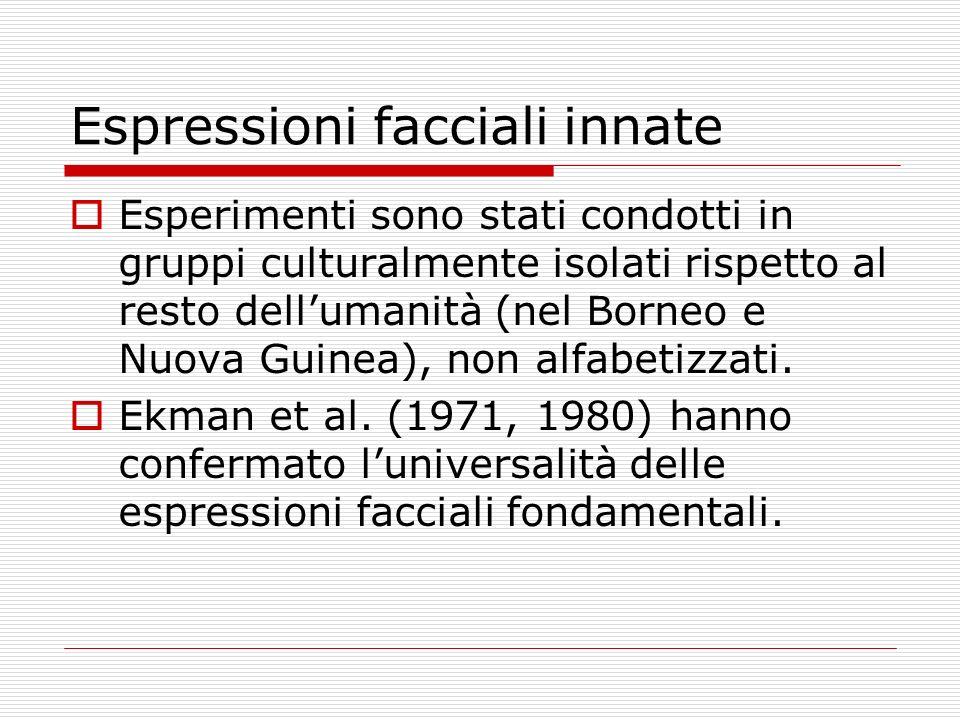 Espressioni facciali innate Esperimenti sono stati condotti in gruppi culturalmente isolati rispetto al resto dellumanità (nel Borneo e Nuova Guinea),