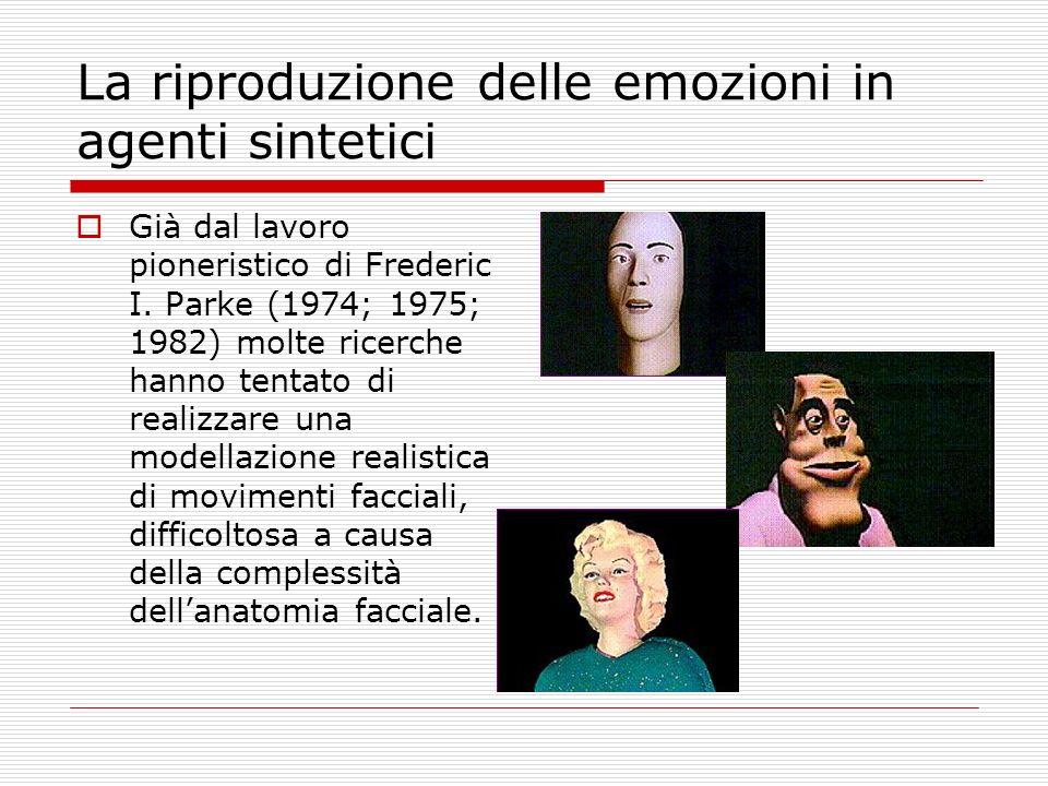 La riproduzione delle emozioni in agenti sintetici Già dal lavoro pioneristico di Frederic I. Parke (1974; 1975; 1982) molte ricerche hanno tentato di