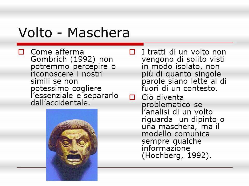 Volto - Maschera Come afferma Gombrich (1992) non potremmo percepire o riconoscere i nostri simili se non potessimo cogliere lessenziale e separarlo d