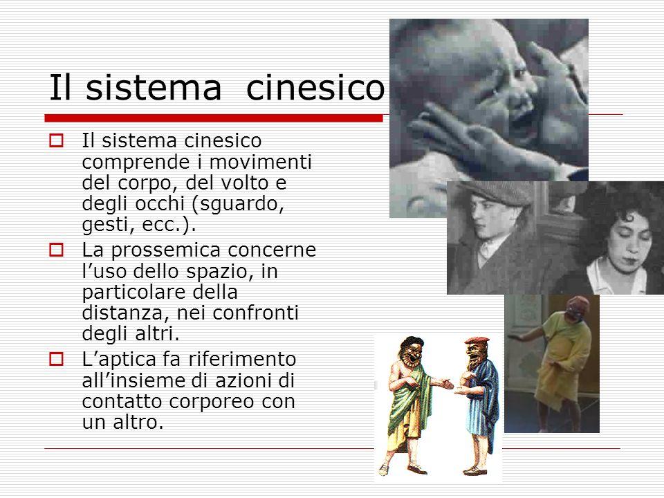 Il sistema cinesico Il sistema cinesico comprende i movimenti del corpo, del volto e degli occhi (sguardo, gesti, ecc.). La prossemica concerne luso d