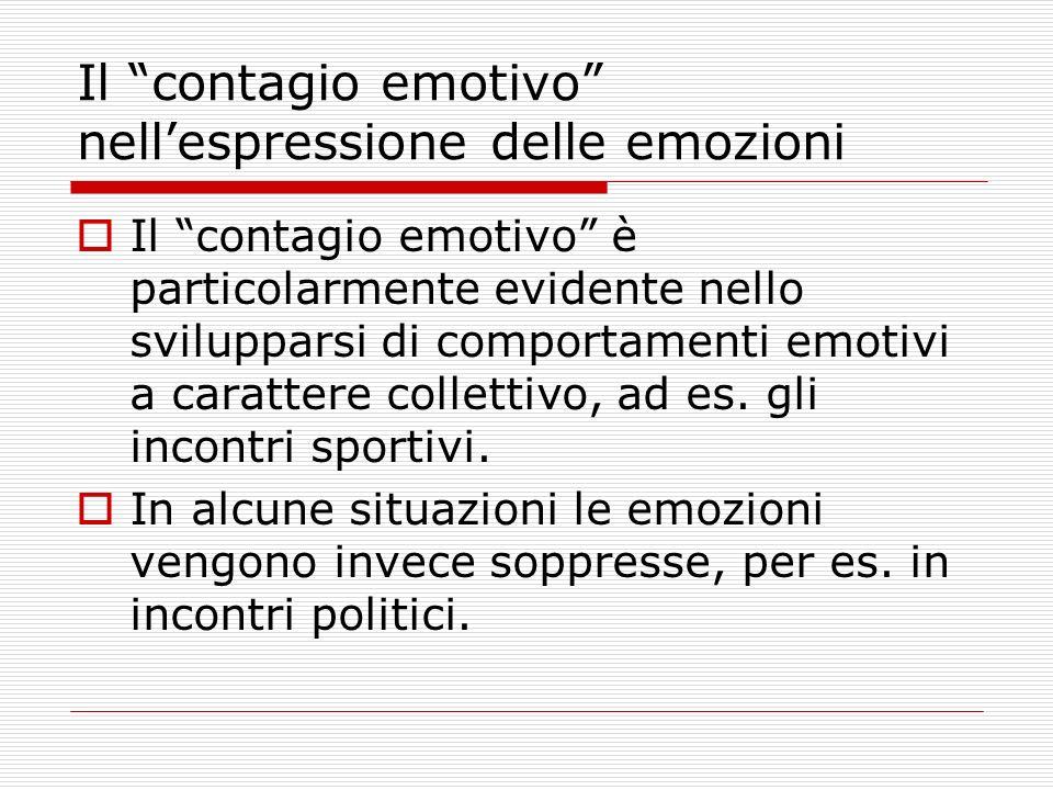 Il contagio emotivo nellespressione delle emozioni Il contagio emotivo è particolarmente evidente nello svilupparsi di comportamenti emotivi a caratte