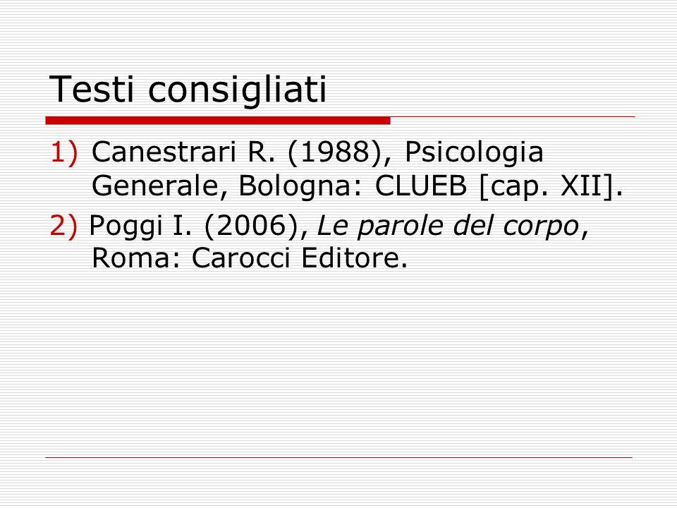 Testi consigliati 1)Canestrari R. (1988), Psicologia Generale, Bologna: CLUEB [cap. XII]. 2) Poggi I. (2006), Le parole del corpo, Roma: Carocci Edito