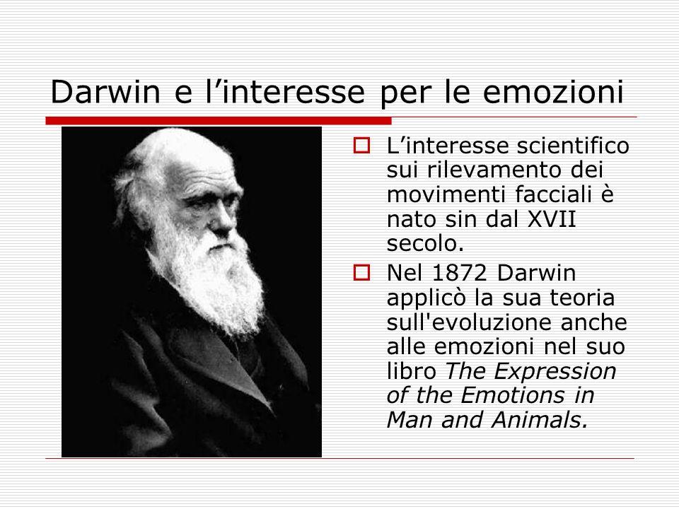 Darwin e linteresse per le emozioni Linteresse scientifico sui rilevamento dei movimenti facciali è nato sin dal XVII secolo. Nel 1872 Darwin applicò