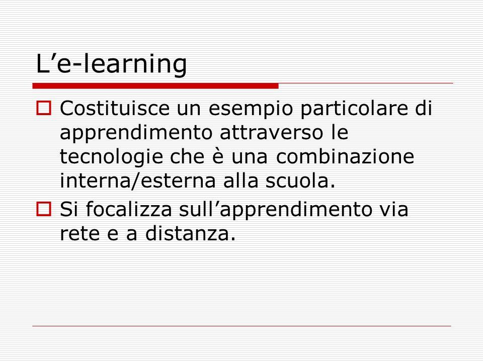 Le-learning Costituisce un esempio particolare di apprendimento attraverso le tecnologie che è una combinazione interna/esterna alla scuola.