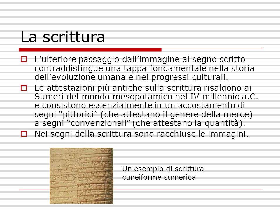 La scrittura Lulteriore passaggio dallimmagine al segno scritto contraddistingue una tappa fondamentale nella storia dellevoluzione umana e nei progressi culturali.
