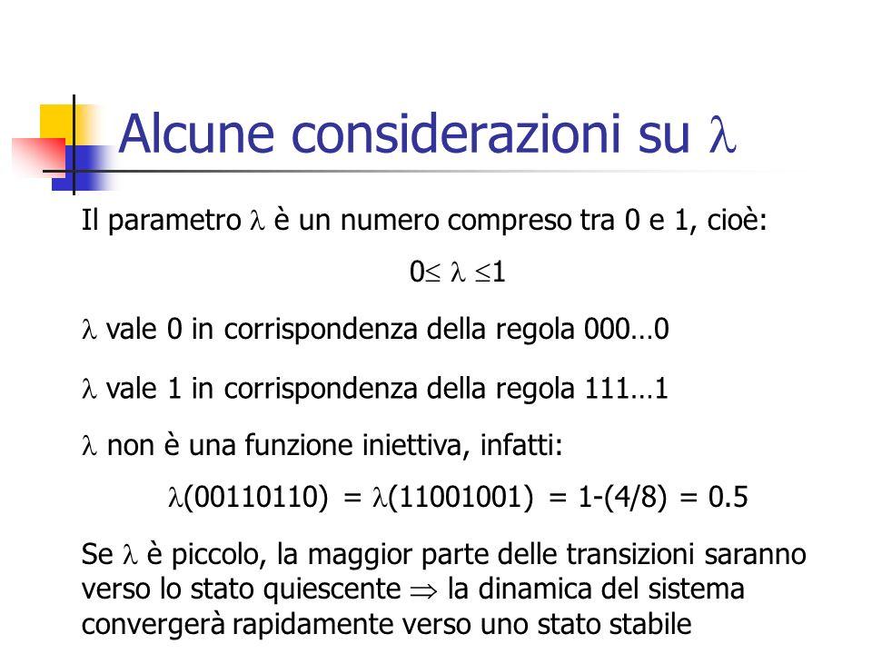 Il Margine del Caos Se è grande, vi saranno poche transizioni verso lo stato quiescente la dinamica del sistema sarà caotica Dunque, al crescere di si passa da dinamiche semplici, attraverso dinamiche molto complesse, a dinamiche del tutto casuali e imprevedibili Così attraversiamo le 4 clsassi di Wolfram nellordine: Class I -> Class II -> Class IV -> Class III Il valore di relativo alla transizione dalla Classe IV alla Classe III viene chiamato Margine del Caos