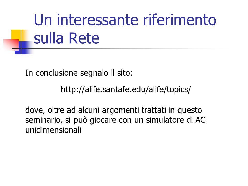 Un interessante riferimento sulla Rete http://alife.santafe.edu/alife/topics/ In conclusione segnalo il sito: dove, oltre ad alcuni argomenti trattati