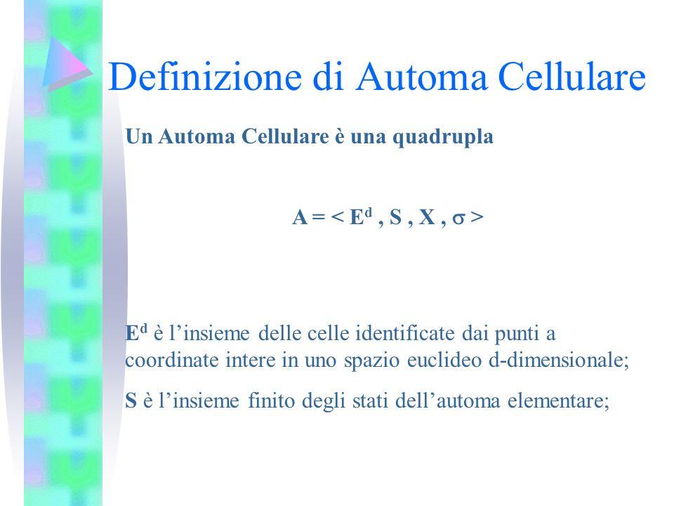 Definizione di Automa Cellulare Un Automa Cellulare è una quadrupla A = E d è linsieme delle celle identificate dai punti a coordinate intere in uno s