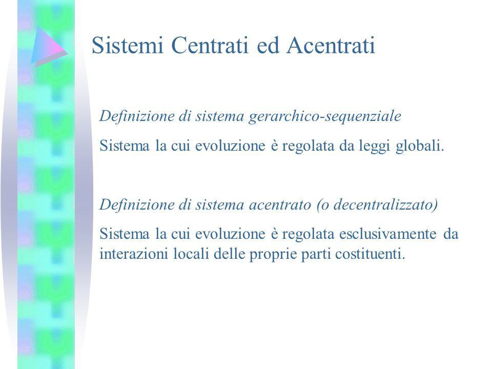 Definizione di sistema gerarchico-sequenziale Sistema la cui evoluzione è regolata da leggi globali. Definizione di sistema acentrato (o decentralizza