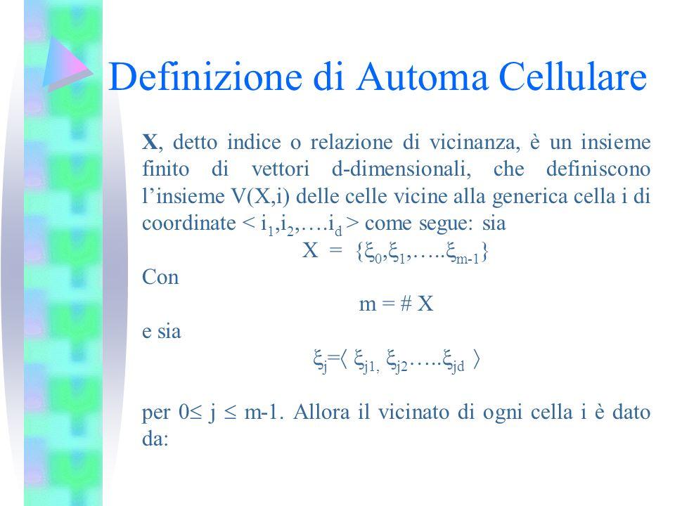 Definizione di Automa Cellulare X, detto indice o relazione di vicinanza, è un insieme finito di vettori d-dimensionali, che definiscono linsieme V(X,