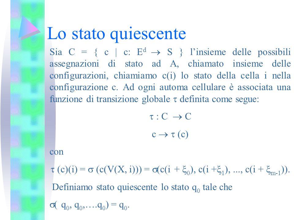 Lo stato quiescente Sia C = { c c: E d S } linsieme delle possibili assegnazioni di stato ad A, chiamato insieme delle configurazioni, chiamiamo c(i)