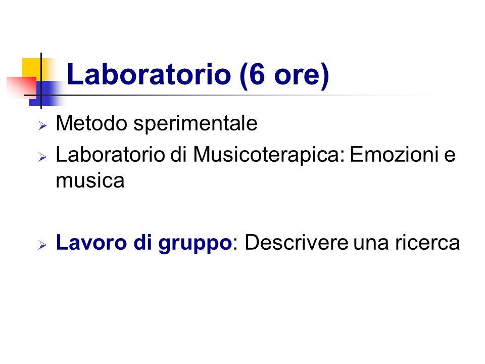 Laboratorio (6 ore) Metodo sperimentale Laboratorio di Musicoterapica: Emozioni e musica Lavoro di gruppo: Descrivere una ricerca