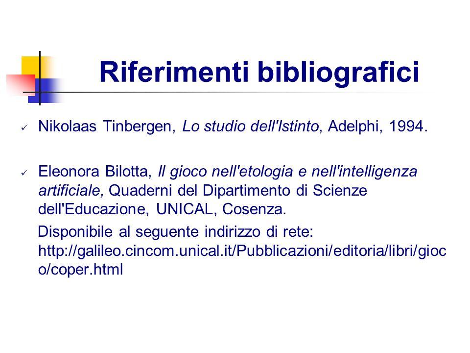 Riferimenti bibliografici Nikolaas Tinbergen, Lo studio dell'Istinto, Adelphi, 1994. Eleonora Bilotta, Il gioco nell'etologia e nell'intelligenza arti