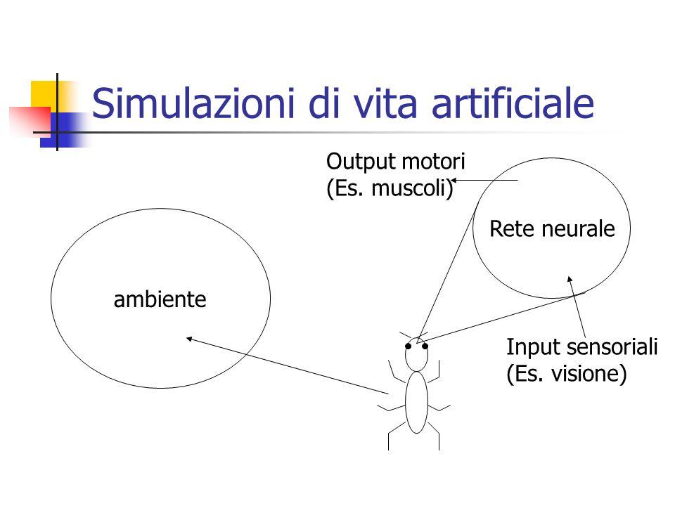 Simulazioni di vita artificiale ambiente Rete neurale Input sensoriali (Es. visione) Output motori (Es. muscoli)
