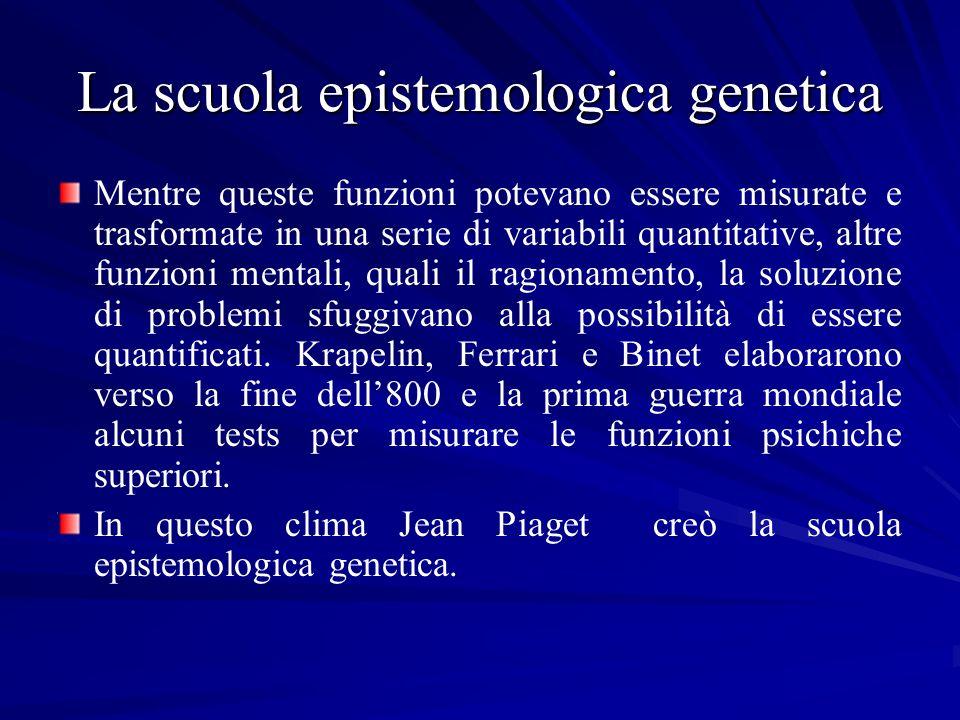 La scuola epistemologica genetica Mentre queste funzioni potevano essere misurate e trasformate in una serie di variabili quantitative, altre funzioni