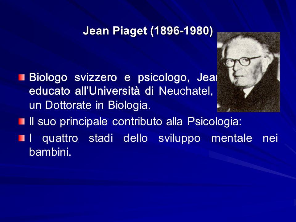 Jean Piaget (1896-1980) Biologo svizzero e psicologo, Jean Piaget fu educato allUniversità di Neuchatel, e poi prese un Dottorate in Biologia. Il suo
