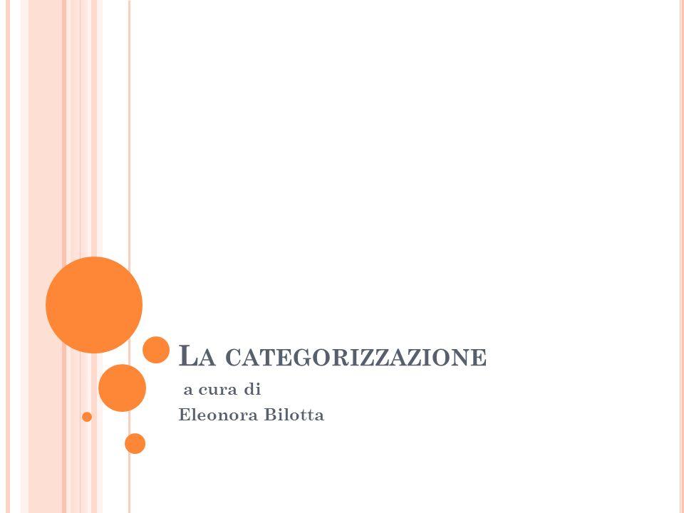 L A CATEGORIZZAZIONE a cura di Eleonora Bilotta