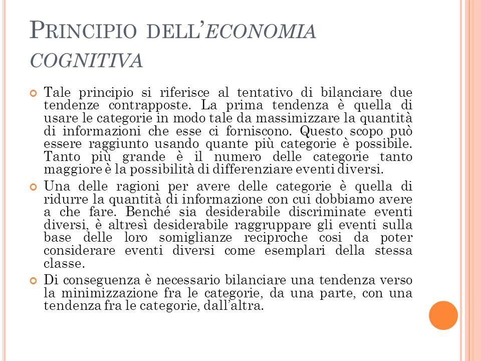 P RINCIPIO DELL ECONOMIA COGNITIVA Tale principio si riferisce al tentativo di bilanciare due tendenze contrapposte. La prima tendenza è quella di usa