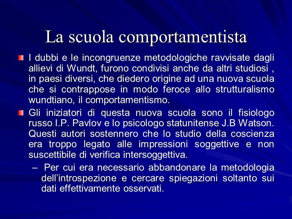 La scuola comportamentista I dubbi e le incongruenze metodologiche ravvisate dagli allievi di Wundt, furono condivisi anche da altri studiosi, in paes