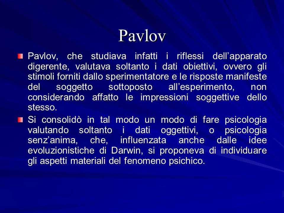 Pavlov Pavlov, che studiava infatti i riflessi dellapparato digerente, valutava soltanto i dati obiettivi, ovvero gli stimoli forniti dallo sperimenta