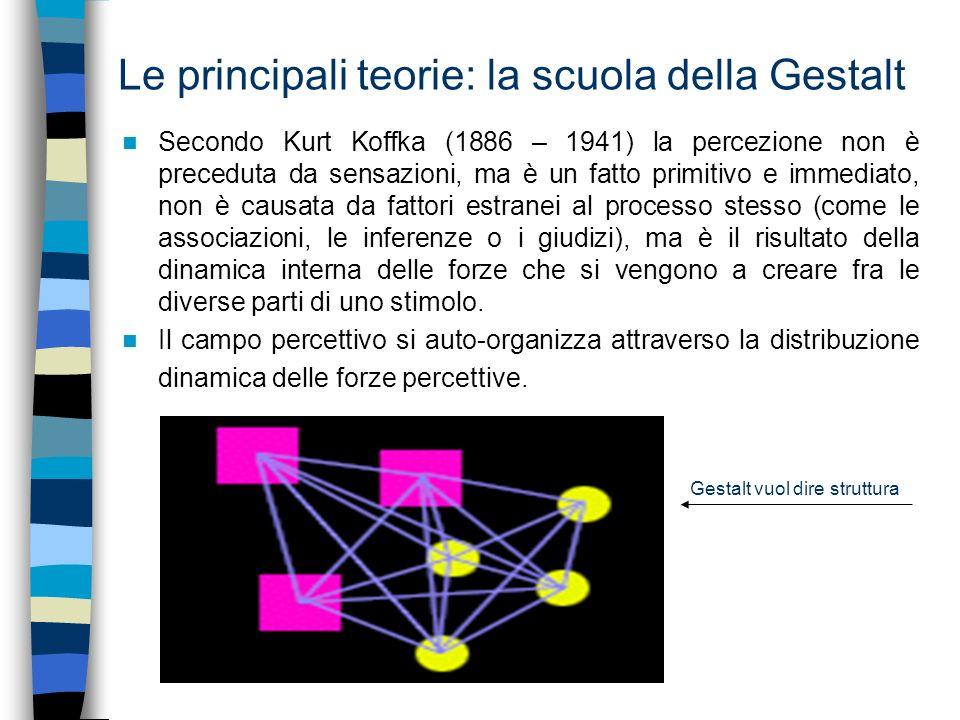 Le principali teorie: la scuola della Gestalt In virtù di questi fattori, le parti di un campo percettivo costituiscono totalità coerenti e configurazioni strutturate (o Gestalten), come figure sullo sfondo, come oggetti distinti con le loro proprietà immediatamente evidenti.