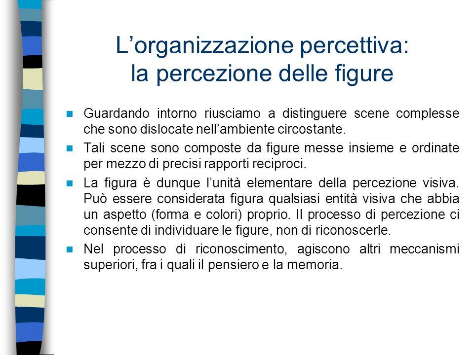 Lorganizzazione percettiva: la percezione delle figure Riconoscerla vuol dire arrivare a stabilire cosa rappresenta.