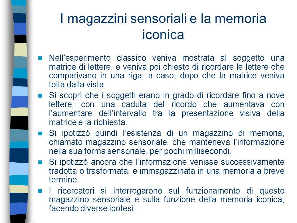 I magazzini sensoriali e la memoria iconica Nellesperimento classico veniva mostrata al soggetto una matrice di lettere, e veniva poi chiesto di ricor