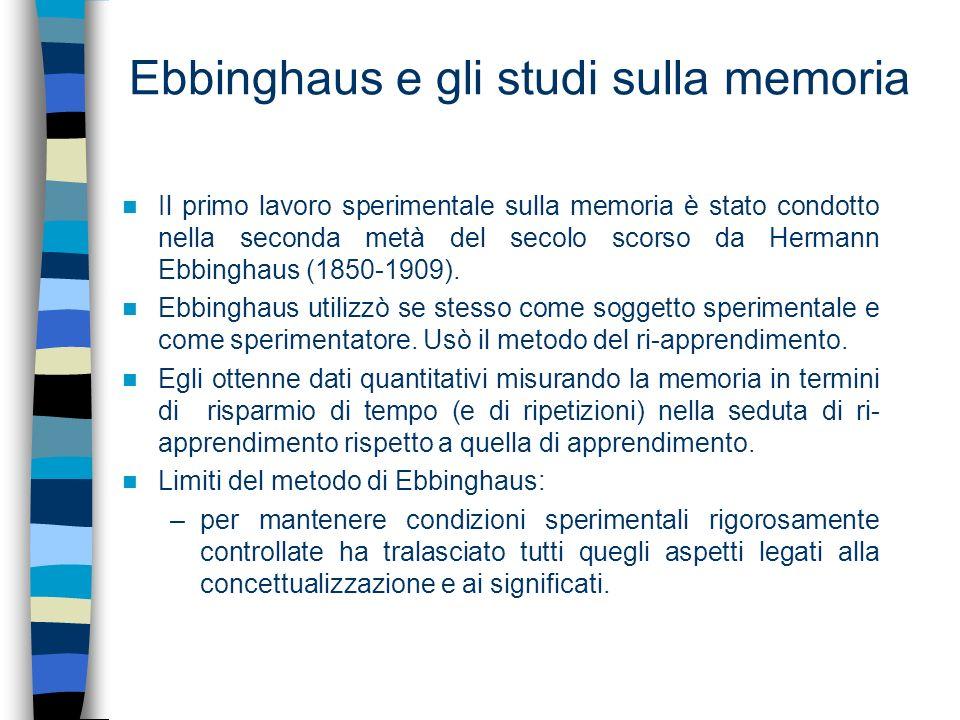 Ebbinghaus e gli studi sulla memoria Il primo lavoro sperimentale sulla memoria è stato condotto nella seconda metà del secolo scorso da Hermann Ebbin