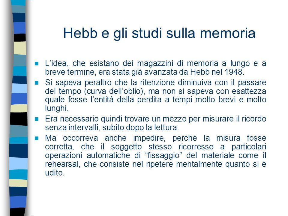 Hebb e gli studi sulla memoria Lidea, che esistano dei magazzini di memoria a lungo e a breve termine, era stata già avanzata da Hebb nel 1948. Si sap